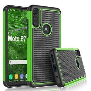 For Motorola Moto E6 / E7 Shockproof Phone Case Cover Hybrid Rugged Rubber Shell
