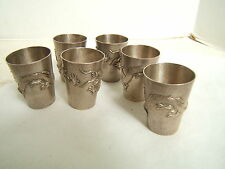 6 JAPANESE SILVER HAND HAMMERED SAKE CUPS WITH DRAGONS