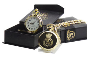 BRITISH ARMY CADETS 24K REAL GOLD Clad Cadet Pocket Watch in Luxury Gift Case