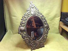 Vtg bronze brass medieval mirror knights swords shield art decor king queen
