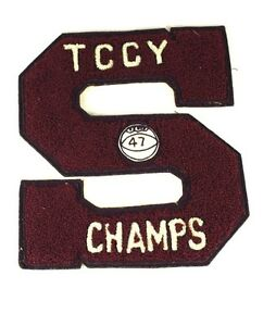 """1947 Ohio TCCY Large 8 1/4 X 7 3/8"""" Letterman Jacket S Champs Basket Ball Patch"""