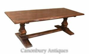Oak Refectory Table - Farmhouse Trestle Kitchen Rustic