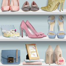 Pink and Blue Ladies Shoes Wallpapers on Bookshelf with Handbags L31601