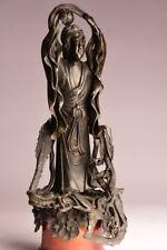 Antike Guan Yin 37 cm China, 19. Jhd., Bronze Buddha alt Drache P19