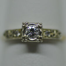 Petite Diamond Solitaire Ring 14K Yellow Gold 1.5g Size 4.5 Estate Jewelry