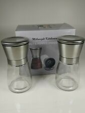 Salt and Pepper Grinder Set Mill Shakers Kit Brushed Stainless Steel Tall Glass