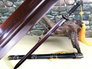 High Quality KungFu Sword Jian Knife Sharp Red Damascus Steel Blade Full Tang