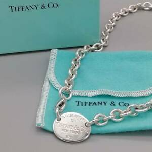 [Mint] Tiffany & Co. Please Return to Oval Tag Chain Necklace pendant Choker