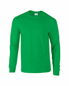 Gildan Mens / Boys Long Sleeve T-Shirt Top *Irish Green* - 100% Cotton SMALL