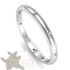2mm 9ct Real White GOLD GENUINE DIAMOND D Shaped Eternity Wedding Band Ring H-V