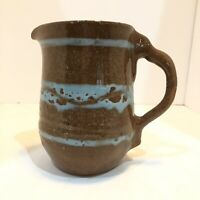 Stoneware Pottery Pitcher Rustic Brown Turquoise Speckled Glaze Large.