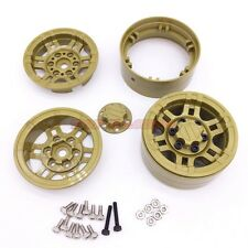 4Pcs 1/10 Scale Rc Truck 1.9 Beadlock Wheel Rim Army Yellow For SCX10 D90 CC01