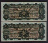 Commonwealth of Australia R26 - 1 pound  CONSECUTIVE PAIR 1927 VF CRISPY