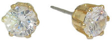 High End Earrings yellow gold plate studs Swarovski Stones 6mm Gift Boxed