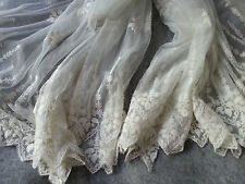 Ivory Lace Fabric Floral Embroidered Tulle Bilateral Fabric Wedding Dress