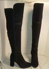 NEW SIGERSON MORRISON BLACK STEELE EMBROIDERED OVER THE KNEE SUEDE BOOTS US 8.5