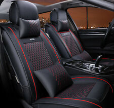 Car Seat Cover Full Set Needlework PU leather Black & Red for 5 seat car 10pcs