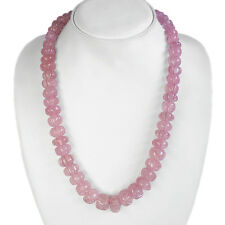 BREATHTAKING QUALITY 580.00 CTS NATURAL CARVED PINK ROSE QUARTZ BEADS NECKLACE