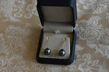 BNIB Tahitian pearl earrings 12mm AAA QUALITY 14K (585) Yellow Gold