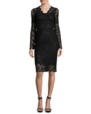 Dolce & Gabbana Lace Long-Sleeve V-Neck Sheath Dress, Orig $2995 Size - 44IT/8US