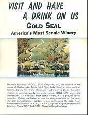 Gold Seal Vineyards Winery Hammondsport Ny vintage advertising flyer