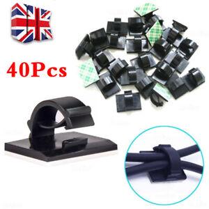 40X Mini Car Wire Clips Self Adhesive Rectangle Tie Sticker Cable Cord Holder