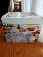 Express Gourmet Hand Food Processor Mixer  Slicer with Handle. White