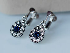 Rings`Ears Clips Silver Small Drop Blue Retro X12