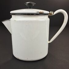 Vintage Enamelware Coffee Pot Percolator White Enamel Pot With Black Rim
