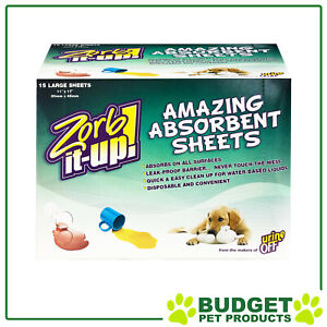 Zorb-It-Up Absorbent Large Sheets For Dogs Cats And Small Animals 15 Pack