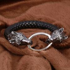 Beauty Trendy Wolf Head Cuff Bangle Leather Men Big Statement Bracelets Jewelry