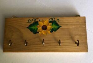 Wood Key hanger Sunflower