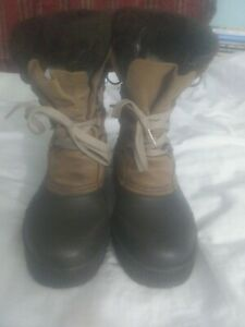 Sorel 'Badger' Insulated Winter Boots Women's Size 6 Suede Rubber Uppers