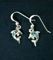 SOLID 925 STERLING SILVER ABALONE SHELL DOLPHIN HOOK EARRINGS + EXTRAS $17 VALUE