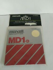 Maxell MDI Soft Sectored Mini-Floppy Disks Single-Sided NEW 2 disks
