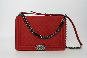 VERIFIED Authentic CHANEL Quilted Caviar Leather Large Boy Flap Bag