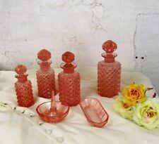 Vanity Dresser set Depression glass Pink Bottle Ring holder 6 pieces
