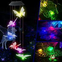 Large Crystal Butterfly Wind Chime Solar Powered Lights Color-Changing Decor