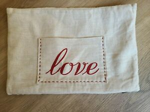 """Pottery Barn """"Love"""" Pocket Embroidered Linen 9 X 13 Pillow Cover"""
