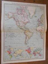Mapa Antiguo Color c1904 del Nuevo Mundo territorios británicos & rutas comerciales