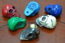 """6 PCS ASSORT COLOR CARVED SKULL HEAD RESIN BEADS 1 1/4"""" #T-2162"""