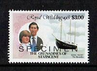 St VINCENT GRENADINES 1981 ROYAL WEDDING $3 VALUE OVERPRINTED SPECIMEN MNH