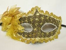 Masquerade Face Mask - Gold and Brown with Gold Flower - NEW - Express Post Opt
