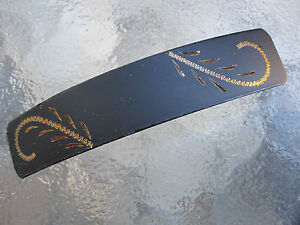 Vintage Enameled Black over Brass French Clip Hair Barrette NEW USA 031