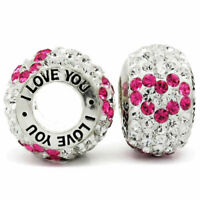 I Love You Charm 925 Silver Pink Heart Bead - Gift for Mum Sister Daughter