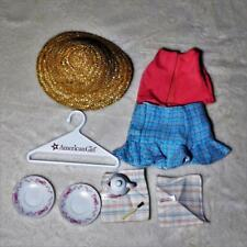 American Girl Doll Straw Hat, Tank Top, Skirt, and Tea Set Very Good Condition