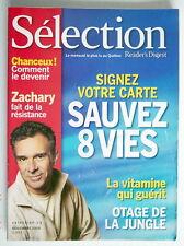 SÉLECTION DU READER'S DIGEST DE NOVEMBRE 2004, EN COUVERTURE ZACHARY RICHARD