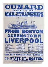 Beautiful Cunard Lines Ship Broadside Poster From 1877
