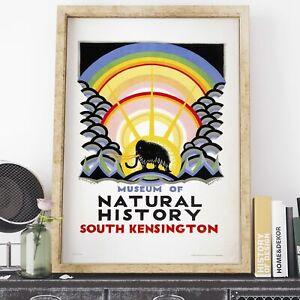 London Underground Kauffer Museum of Natural History 1923 retro poster print ...