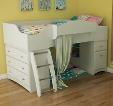 White Twin Size Storage Loft Bed Home Living Bedroom Furniture Drawers